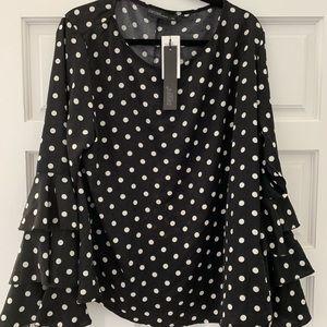 Tops - Ruffle sleeve polka dot blouse brand new